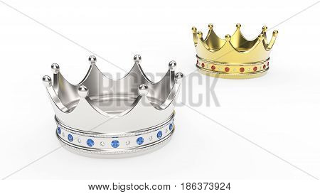 3D illustration two gold and crown tiaras with diamonds on a white background