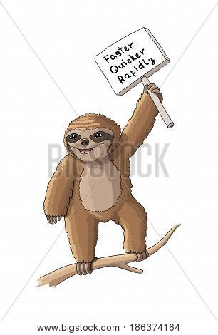 Sloth character with a sign cartoon vector illustration, EPS 10