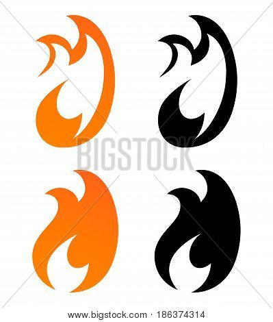 Set of Icons Flames of Fire in Orange and Black Color. Vector Illustration of Logo with Creative Shape.