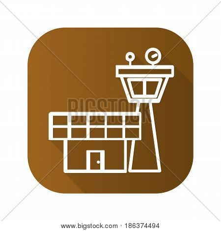 Flight control tower flat linear long shadow icon. Vector line symbol