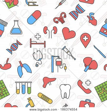 Medicine icons vector linear seamless white background