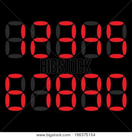 The electronic digits are red. The numbers are 1, 2, 3, 4, 5, 6, 7, 8, 9, 0. Signs for the watch. LED digital number. Vector illustration. black background.