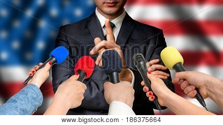 American Candidate Speaks To Reporters - Journalism Concept
