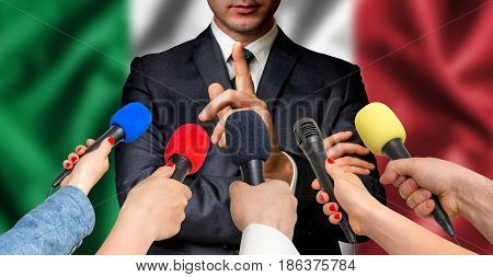 Italian Candidate Speaks To Reporters - Journalism Concept