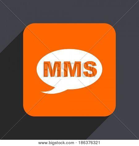 Mms orange flat design web icon isolated on gray background