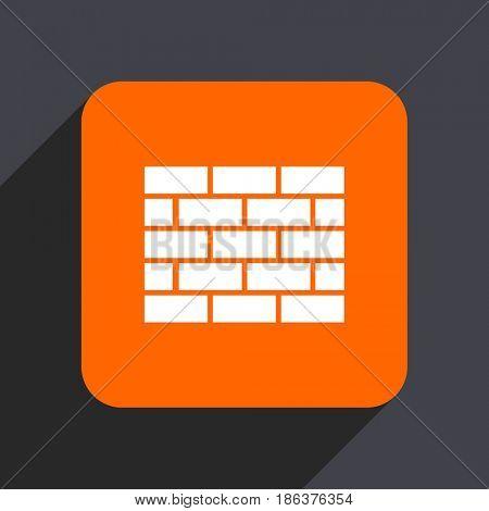 Firewall orange flat design web icon isolated on gray background