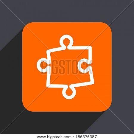 Puzzle orange flat design web icon isolated on gray background