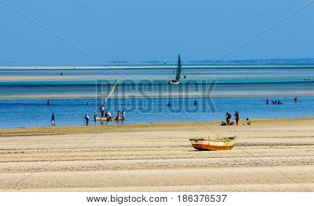 Traditional fishing boats in Mozambique coast with low tide