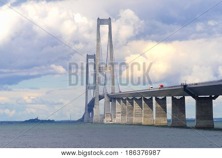 The great belt bridge in denmark connecting Zealand with Funen