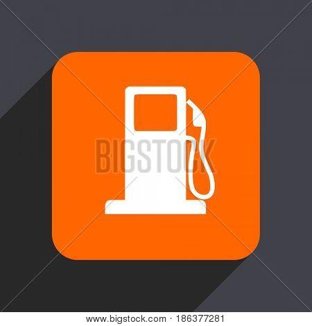 Petrol orange flat design web icon isolated on gray background