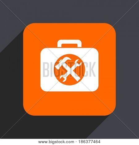 Toolkit orange flat design web icon isolated on gray background