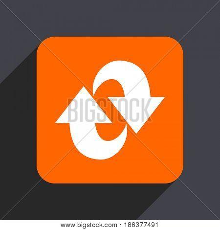 Rotation orange flat design web icon isolated on gray background