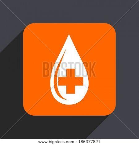 Blood orange flat design web icon isolated on gray background