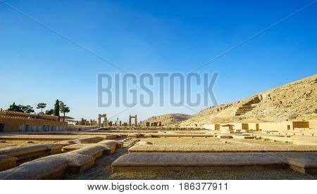 View over Persepolis by Shiraz in Iran