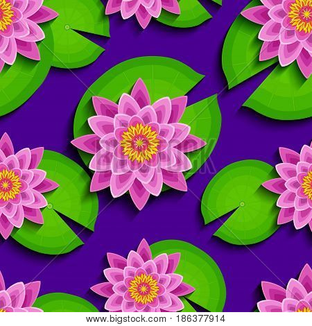 Floral bright seamless pattern with beautiful 3d pink lotus and green leaves. Modern nature background with stylized waterlily flower. Trendy stylish wallpaper. Vector illustration