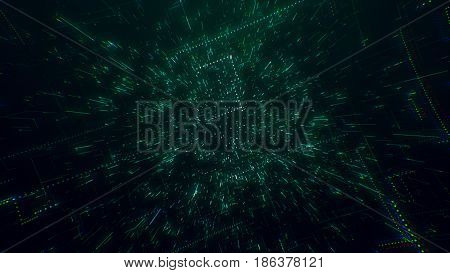 The surface of technology with lines of chaos and grid is an abstract computer image with chromatic aberrations. Digital art: a dark technical, sci-fi or sci-fi background. 3d illustration