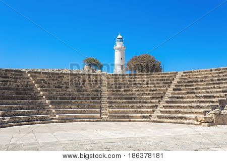 Odeon Amphitheatre And The Lighthouse. Paphos, Cyprus