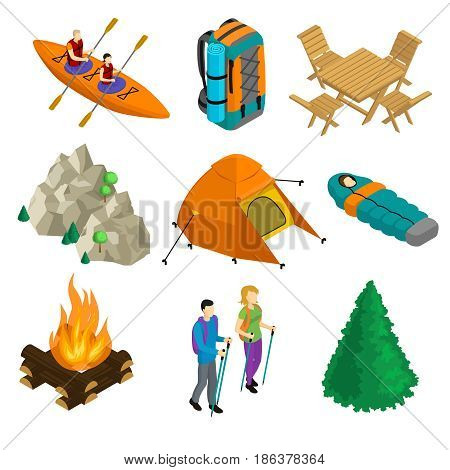 Isometric camping elements set with people in boat backpack table chairs mountain tent sleeping bag bonfire walking couple tree isolated vector illustration