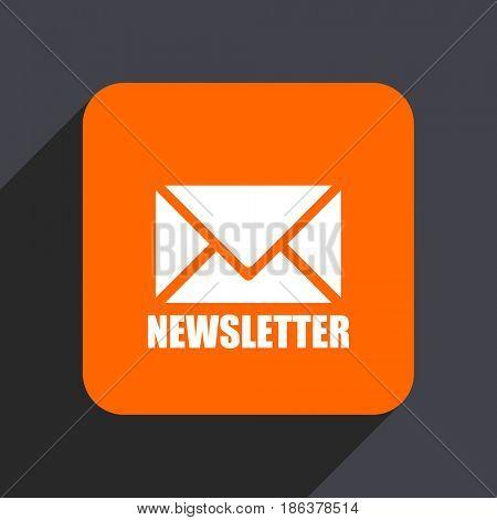 Newsletter orange flat design web icon isolated on gray background