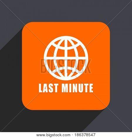 Last minute orange flat design web icon isolated on gray background