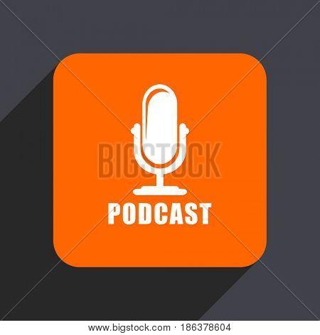 Podcast orange flat design web icon isolated on gray background