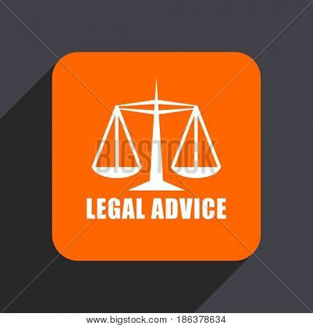 Legal advice orange flat design web icon isolated on gray background