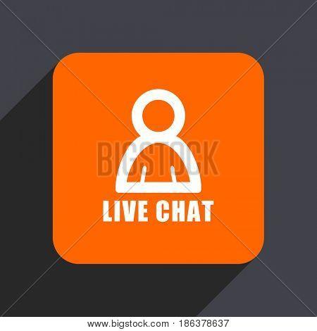 Live chat orange flat design web icon isolated on gray background