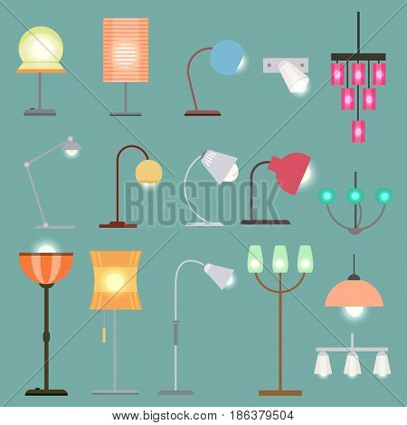 Modern indoor lights set with different kinds of turning on lamps and chandeliers on turquoise background isolated vector illustration