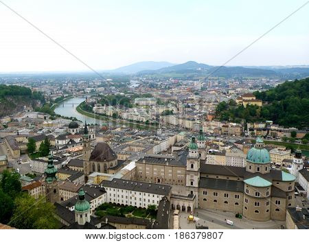 Stunning view of Salzburg Cityscape with Salzach River as seen from Hohensalzburg, Austria