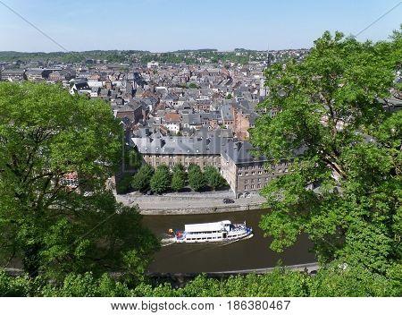Impressive cityscape of Namur, view from the Citadel of Namur, Wallonia regeion, Belgium