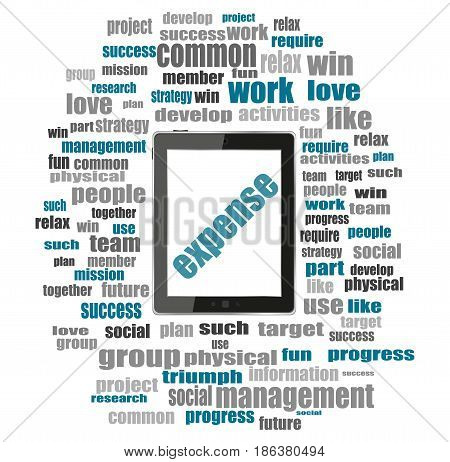 Word Expense. Business Concept . Word Collage With Tablet Pc