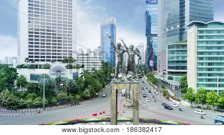 JAKARTA Indonesia. May 12 2017: monument of welcome with cloudy sky in the downtown Jakarta
