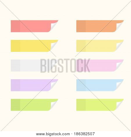 Sticky stickers with flip edges. Set of notice paper sheets. Vector