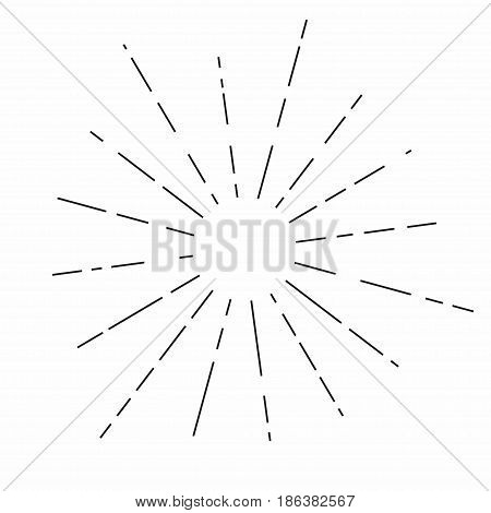 Sunburst. Sunshine rays in vintage style. Light rays radial sunbeam decoration. Vector