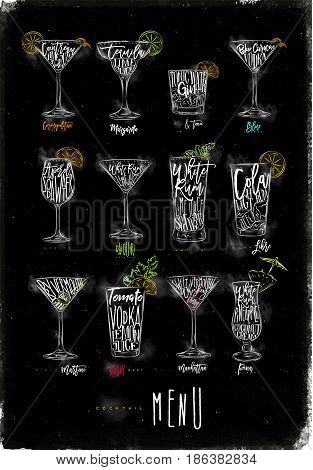 Cocktail menu graphic lettering bloody mary blue lagoon cosmopolitan cuba libre daiquiri martini gin tonic manhattan margarita mojito pina colada spritz drawing chalk color on chalkboard