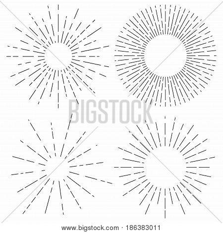 Sunburst. Sunshine rays in vintage style. Light rays radial sunbeam decoration. Vector