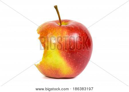 Bitten red apple isolated on white background with clipping path