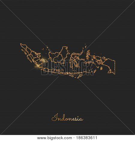 Indonesia Region Map: Golden Glitter Outline With Sparkling Stars On Dark Background. Detailed Map O