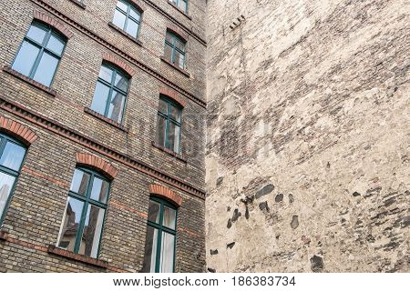 Backyard , Facade Of Old Building In Berlin