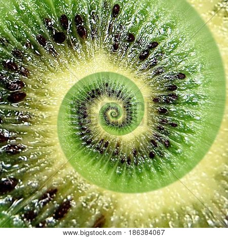 Kiwi abstract texture fractal spiral. Kiwi background. Abstract green black fruit fractal effect. Food incredible background. Funny fresh fruits. Green kiwi. Droste effect round circle spiral