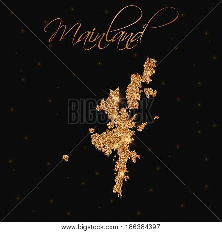 Mainland Map Filled With Golden Glitter. Luxurious Design Element, Vector Illustration.