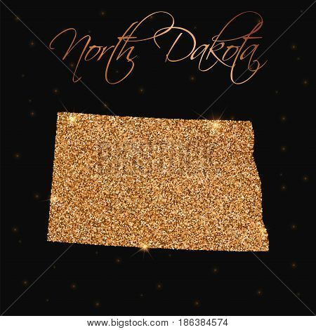 North Dakota State Map Filled With Golden Glitter. Luxurious Design Element, Vector Illustration.