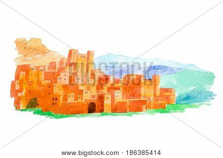 Watercolor illustration Kasbah Ait Ben Haddou in the Atlas mountains of Morocco.