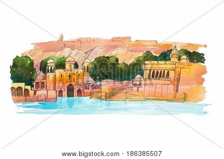 Hand-drawn watercolor sketch of Water Palace, lake Jaipur in India.