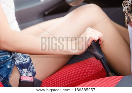 Transportation and vehicle concept. Female driver hand shifting gear manually.