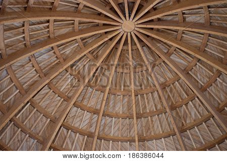 Dome of Umayyad Palace with wooden beams and roof. The dome is at the entrance of the palace and has been reconstructed. Located at the Amman Citadel.
