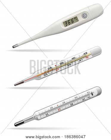 Medical thermometers. Digital alcohol and mercury thermometers for measuring the temperature of the human body. Vector illustration.