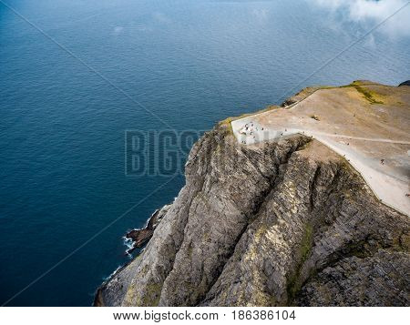 Barents Sea coast North Cape (Nordkapp) in northern Norway aerial photography.