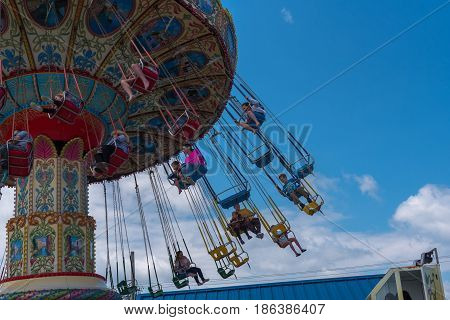 Point Pleasant NJ USA -- May 14 2017 Adults and children riding the