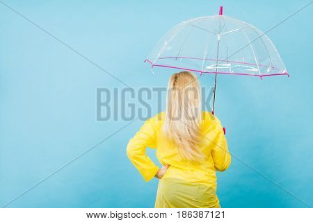 Blonde Woman Holding Transparent Umbrella